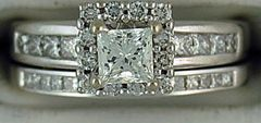 1ctw Diamond Halo Wedding and Engagement Set