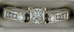 3/4ctw Princess and Round Cut Diamond Wedding Set