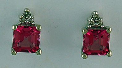 Pink Stone and Diamond Earrings