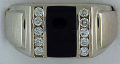 1/4ctw Diamond and Onyx Gentleman's Ring