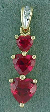 Red Heart Stone and Diamond Pendant
