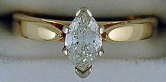 Ladies .71ct Marquise Diamond Solitaire Ring