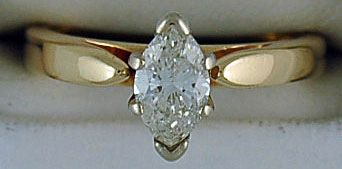 Ladies .71ct Marquise Diamond Solitaire Ring