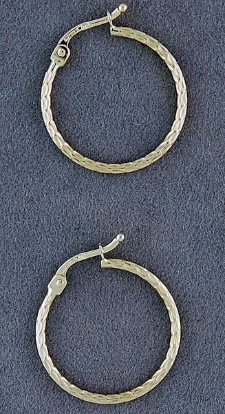 Patterned Yellow Gold Hoop Earrings