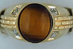 Gentleman's Tiger Eye and Diamond Ring