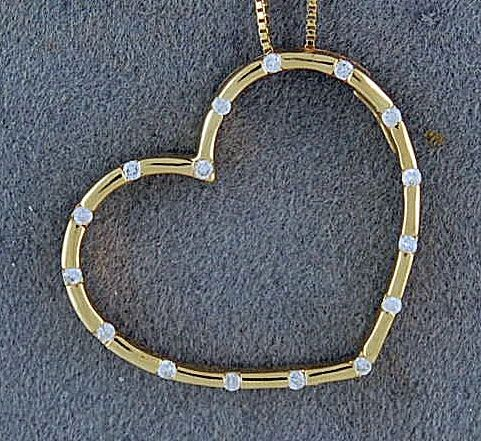 Bezel Set Diamond Heart on a Box Link Chain