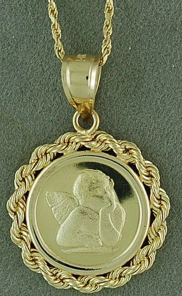 "Guardian Angel Pendant on a 20"" Rope Chain"