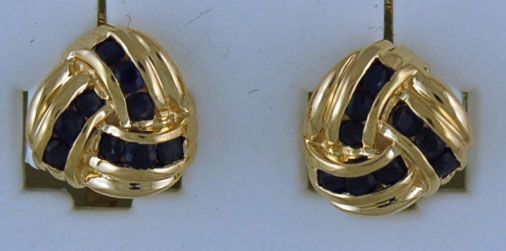 3/8ctgw Knotted Sapphire Earrings