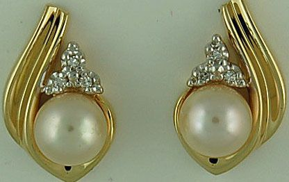 Yellow Gold Pearl and Diamond Earrings