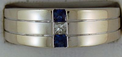 Gentleman's Diamond and Sapphire Band