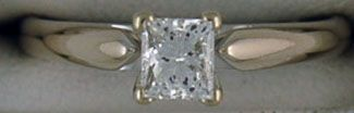 Ladies 5/8ct Princess Cut Diamond Solitaire Ring