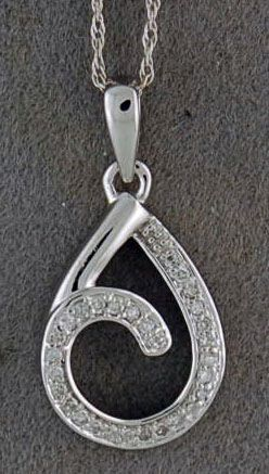 1/8ctw Diamond Tear Drop Pendant on a FIne Link Chain