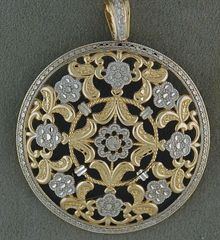 Two-Tone Filigree Flower Pendant