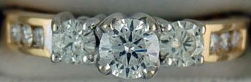 3/4ctw Round Cut Diamond Past, Present and Future Engagement Ring