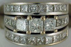 Ladies 4ctw Princess Cut Diamond Wedding Set
