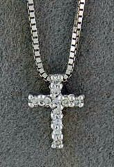 Diamond Chip Cross Pendant on a Box Link Chain