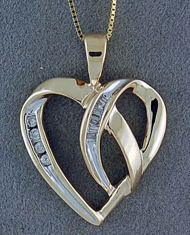 1/8ctw Two-Tone Heart Pendant on a Chain