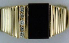 Gentleman's Onyx and Diamond Ring