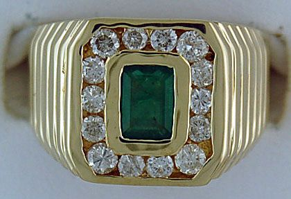 Gentleman's Diamond and Emerald Ring