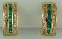 1ctgw Emerald and Diamond Half Hoop Earrings