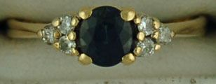 1/8ctdw Doublet Sapphire and Diamond Ring