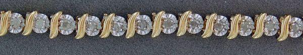 "3/4ctw 7"" S and Circle link Diamond Tennis Bracelet"