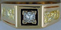 Gentleman's Nugget Pattern 3/8ct Diamond Ring