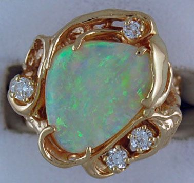 Ladies 1/4ctdw Freeform Opal and Diamond Ring