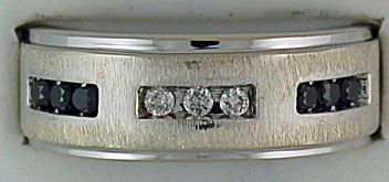 Gentleman's White and Black Diamond Band