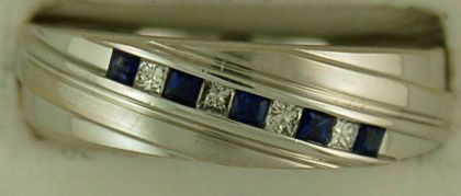 3/8ctgw Gentleman's Diamond and Sapphire Band