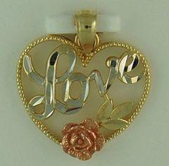 Tri-Color Love Heart Pendant