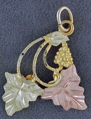 Two Leaf Black Hills Gold Pendant