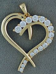3/4ct Round Cut Diamond Heart Pendant