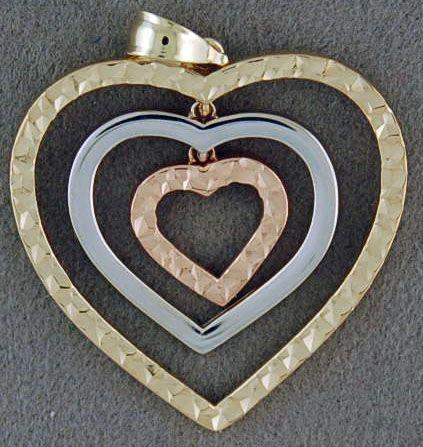 Tri-Colored Tri-Layer Heart Pendant