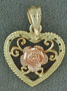 Two-Tone Rose in a Heart Pendant