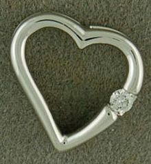 Heart Pendant with a Diamond Chip