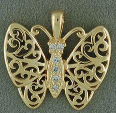 Filigree Diamond Butterfly Pendant