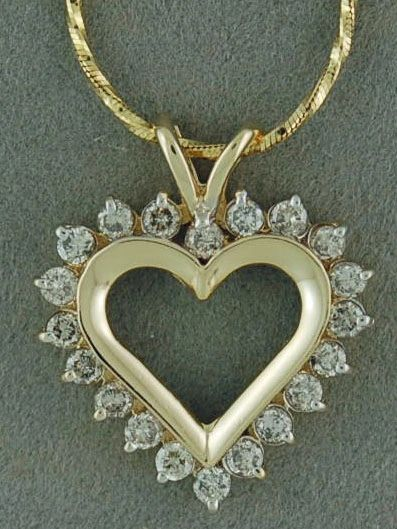 "9/10ctw Diamond Heart Pendant on an 18"" Snake Chain"