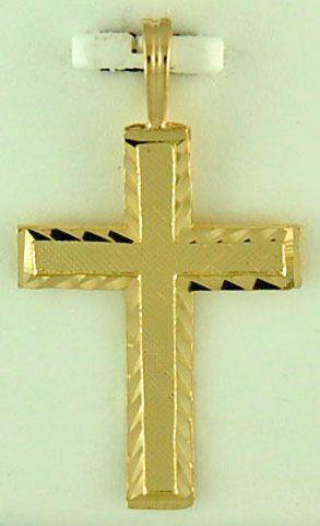 Yellow Gold Patterned Cross Pendant