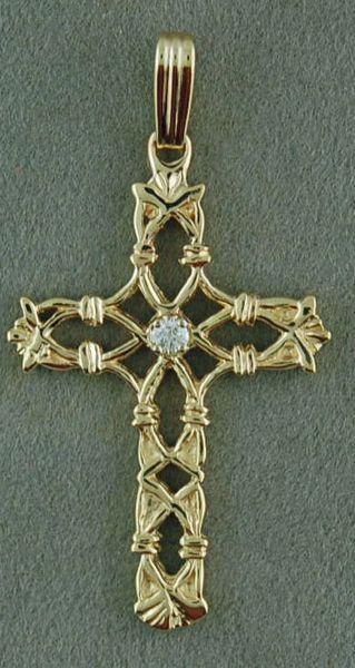 Filigree Cross Pendant with a Diamond Chip
