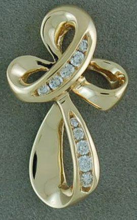 1/4ctw Diamond Bow Style Cross Pendant