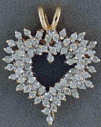 1ctw Diamond Cluster Heart Pendant