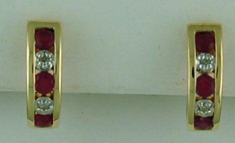 3/8ctgw Ruby and Diamond Half Hoop Earrings