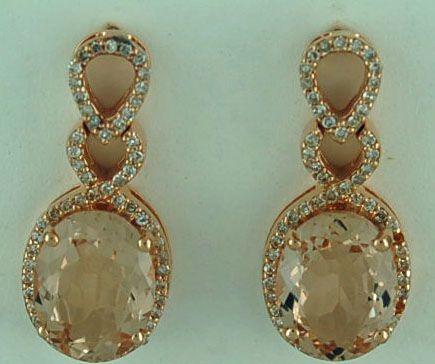 Ladies 1/2ctdw Rose Gold Drop Earrings