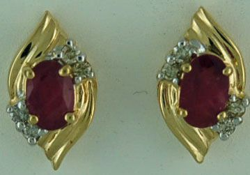 1ctgw Ruby and Diamond Earrings