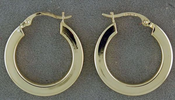 Yellow Gold Box Edge Hoop Earrings