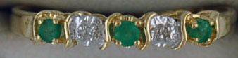 Ladies Emerald and Diamond Chip Ring