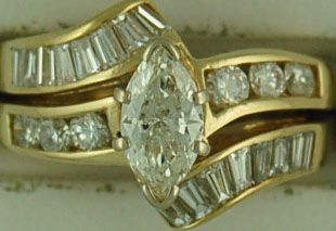 Ladies 1-5/8ctw Marquise Diamond Wedding Set