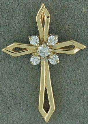 1/6ctw RoundDiamond Cross Pendant