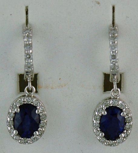Ladies 1/2ctw Oval Blue Stone and Diamond Dangle Earrings